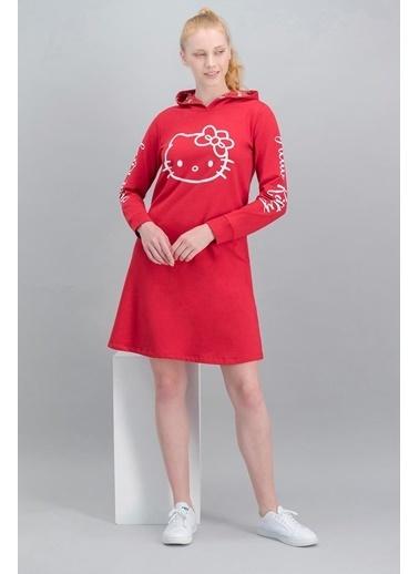 Hello Kitty Hello Kitty Lisanslı Açık Pembe Kadın Kapüşonlu Elbise Kırmızı